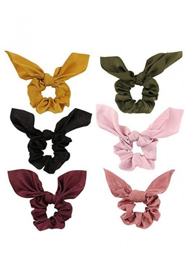 6-Pack Chiffon Hair Scrunchies Hair Bow
