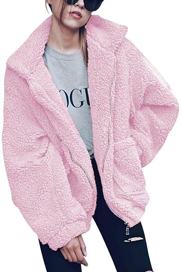Fuzzy Faux-Shearling Zipper Jacket