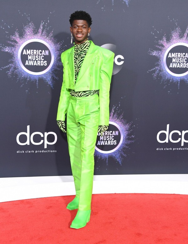 Lil Nas X Instyle with His New Curly Bangs and Gucci Suit in the Billboard Music Awards