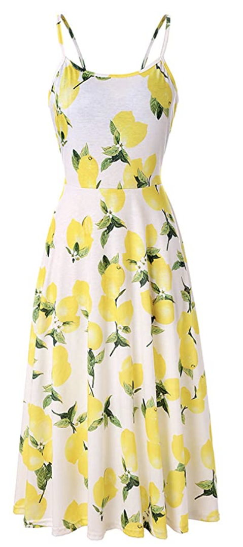Pizoff Lemon-Print Midi Dress