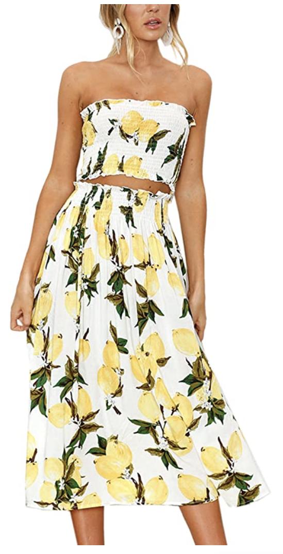 Angashion Floral Crop Top Maxi Skirt Set