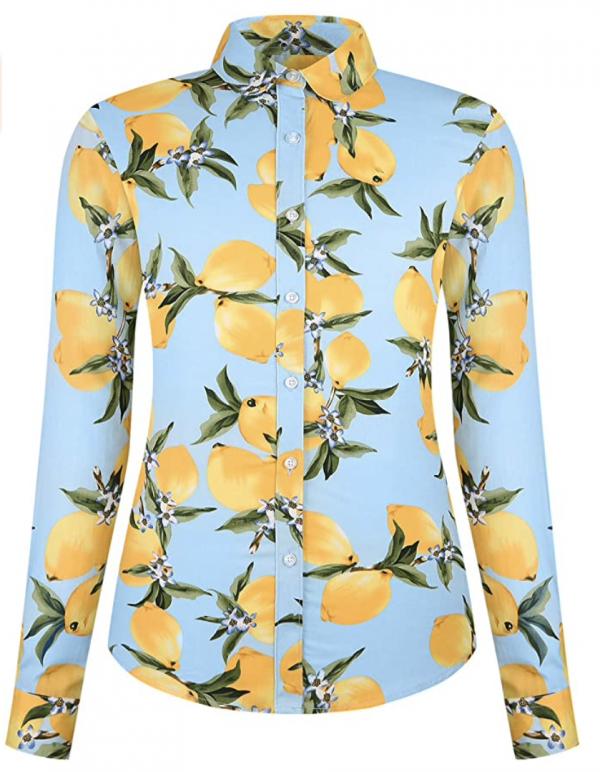 Dokkia Lemon-Print Button-Up Blouse