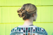 tutorial: knotted fishtail braided chignon,